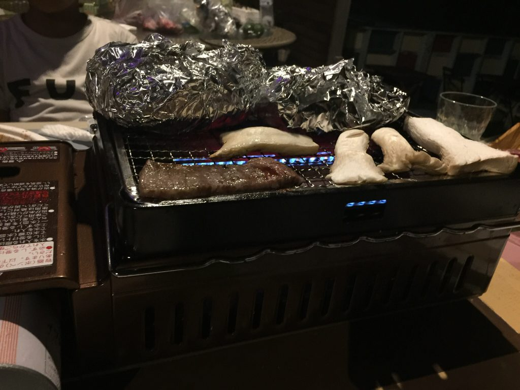バーベキューで、釣った魚をホイル焼きにした。