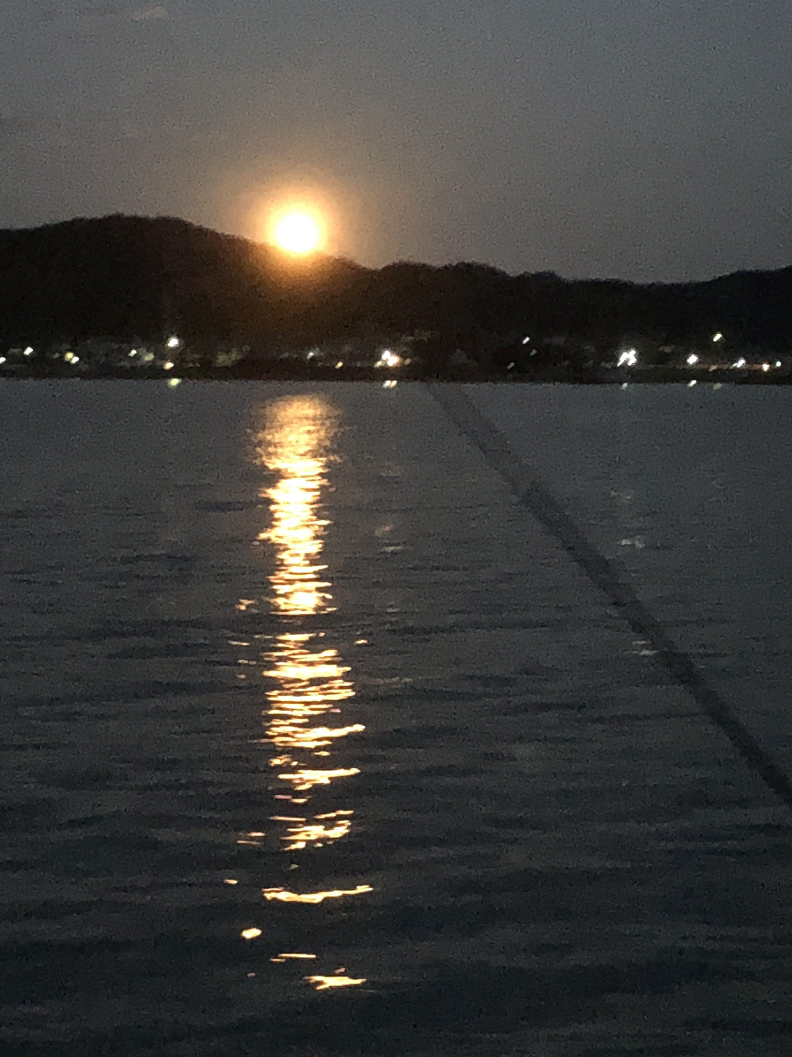 富浦港で日没を見ながら釣りをそろそろ片付け始めます